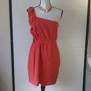 Bcbgenrations summer sun dress. One shoulder Red